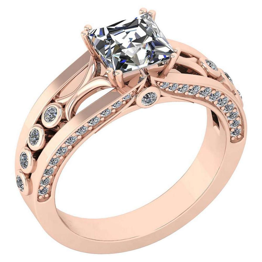 Certified 1.53 Ctw Diamond Wedding/Engagement Style 18K Rose Gold Halo Ring (SI2/I1) #PAPPS19559