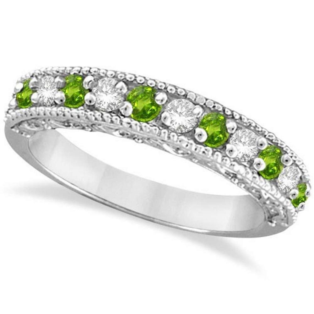Diamond and Peridot Band Filigree Design Ring 14k White Gold (0.60ct) #PAPPS20659