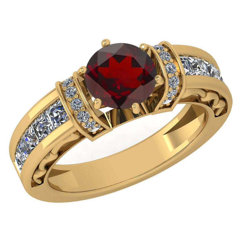 Certified 2.15 Ctw Garnet And Diamond Ladies Fashion Halo Ring 14K Yellow Gold (VS/SI1) MADE IN USA #PAPPS21057