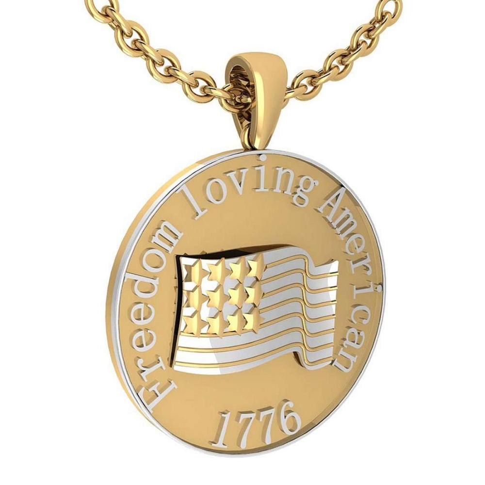 Freedom Loving American 1776 14K Yellow Gold MADE IN ITALY Pendant #PAPPS20232