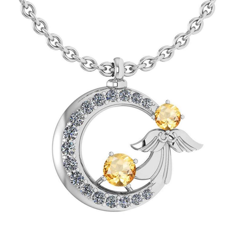 Certified 1.14 Ctw Citrine And Diamond Tiny Angel Necklace For womens New Expressions love collection 18K White Gold #PAPPS19800