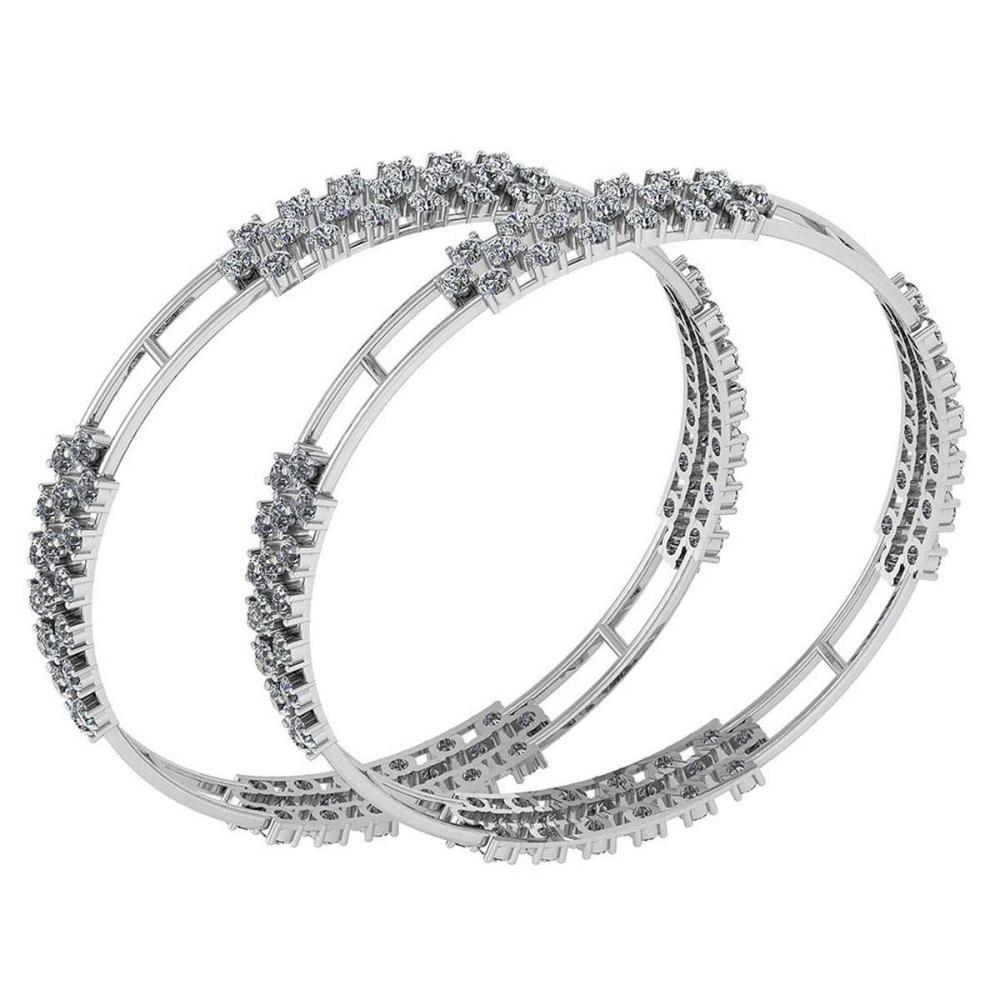 Certified 7.60 Ctw Diamond VS/SI1 Bangles 14K White Gold Made In USA #PAPPS23814