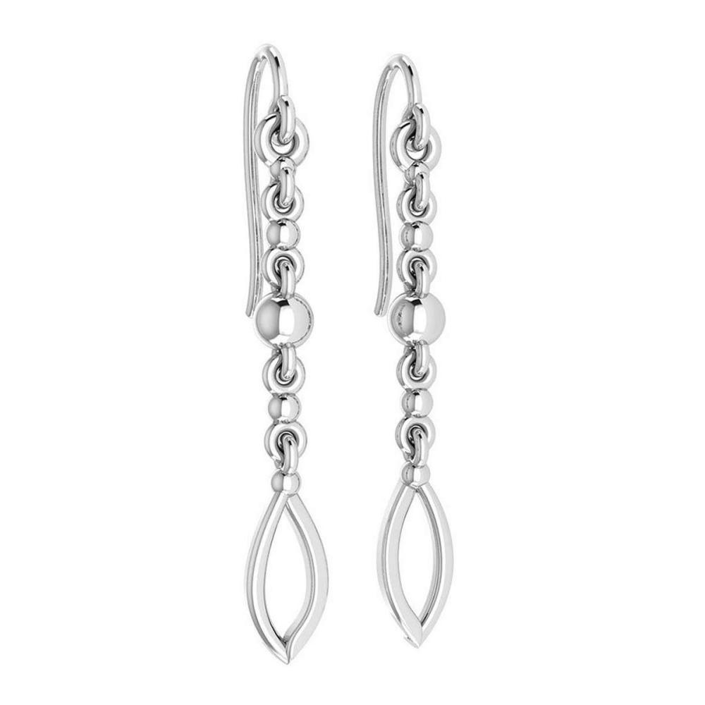 Gold Wire Hook Earrings 14K White Gold Made In Italy #PAPPS22203