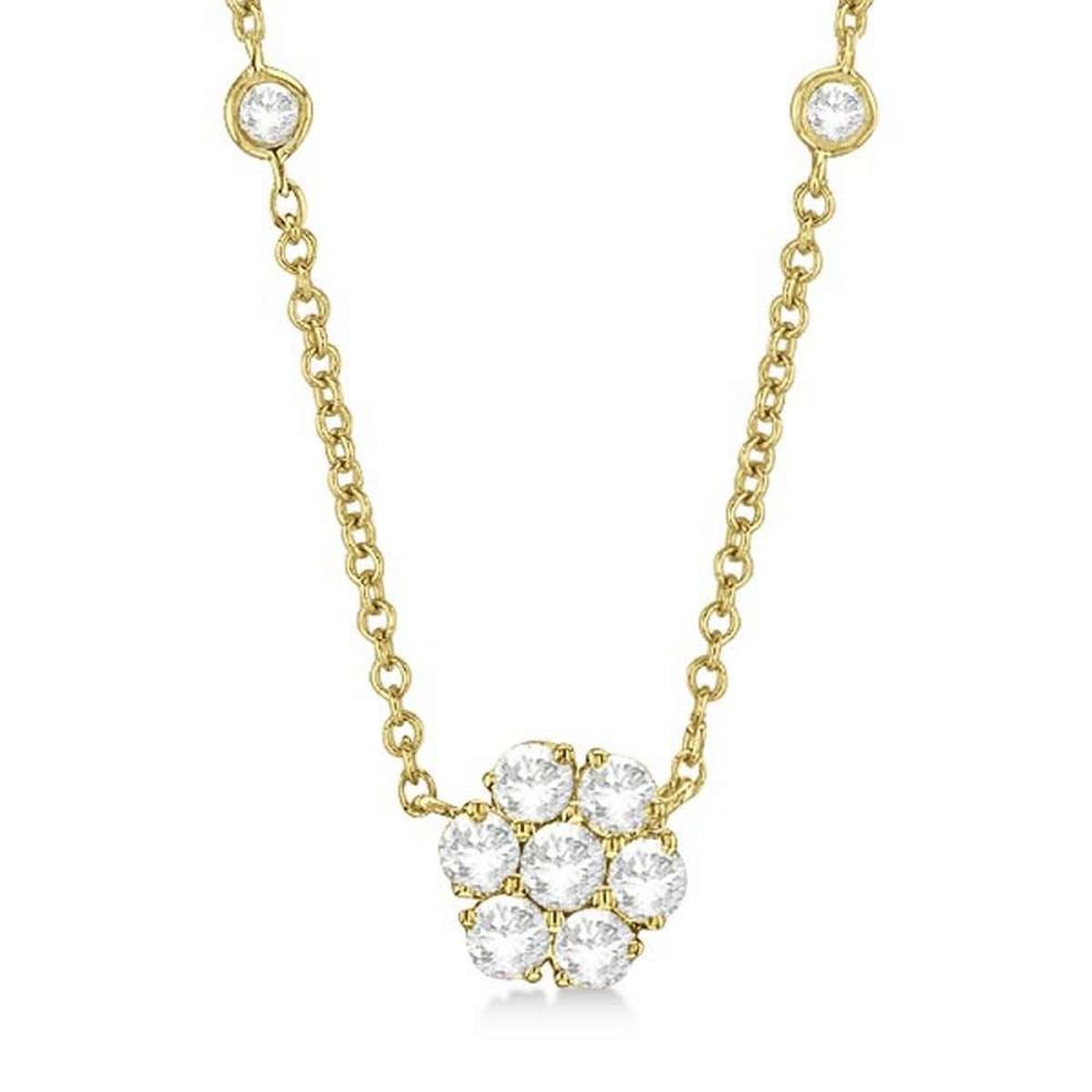 Flower Pendant Diamonds By The Yard Necklace 14k Yellow Gold (1.50ct) #PAPPS20895