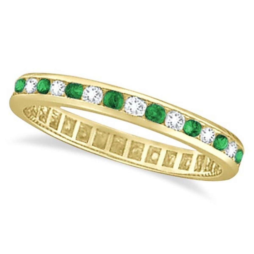 Emerald and Diamond Channel Set Eternity Ring Band 14k Yellow G. (1.04ct) #PAPPS20680