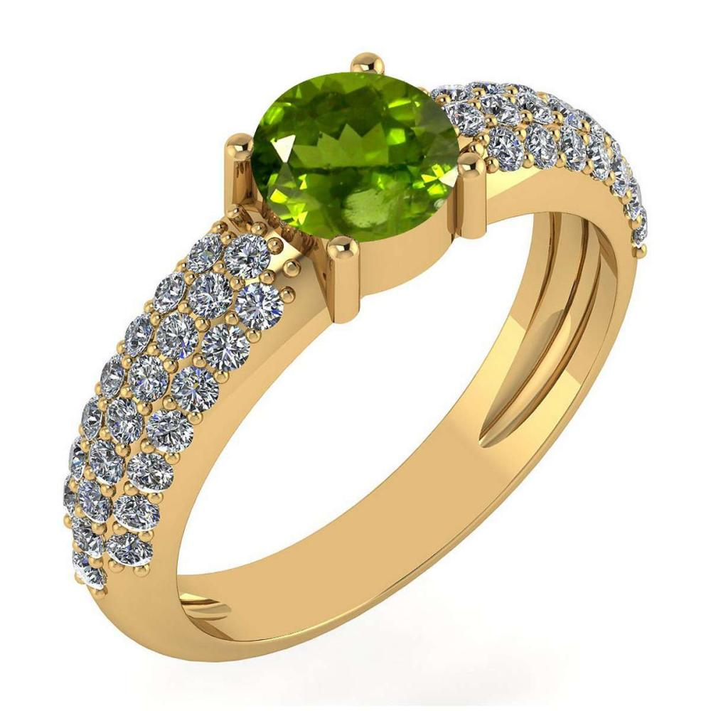 Certified 1.34 Ctw Peridot And Diamond 14k Rose Gold Halo Ring #PAPPS15900