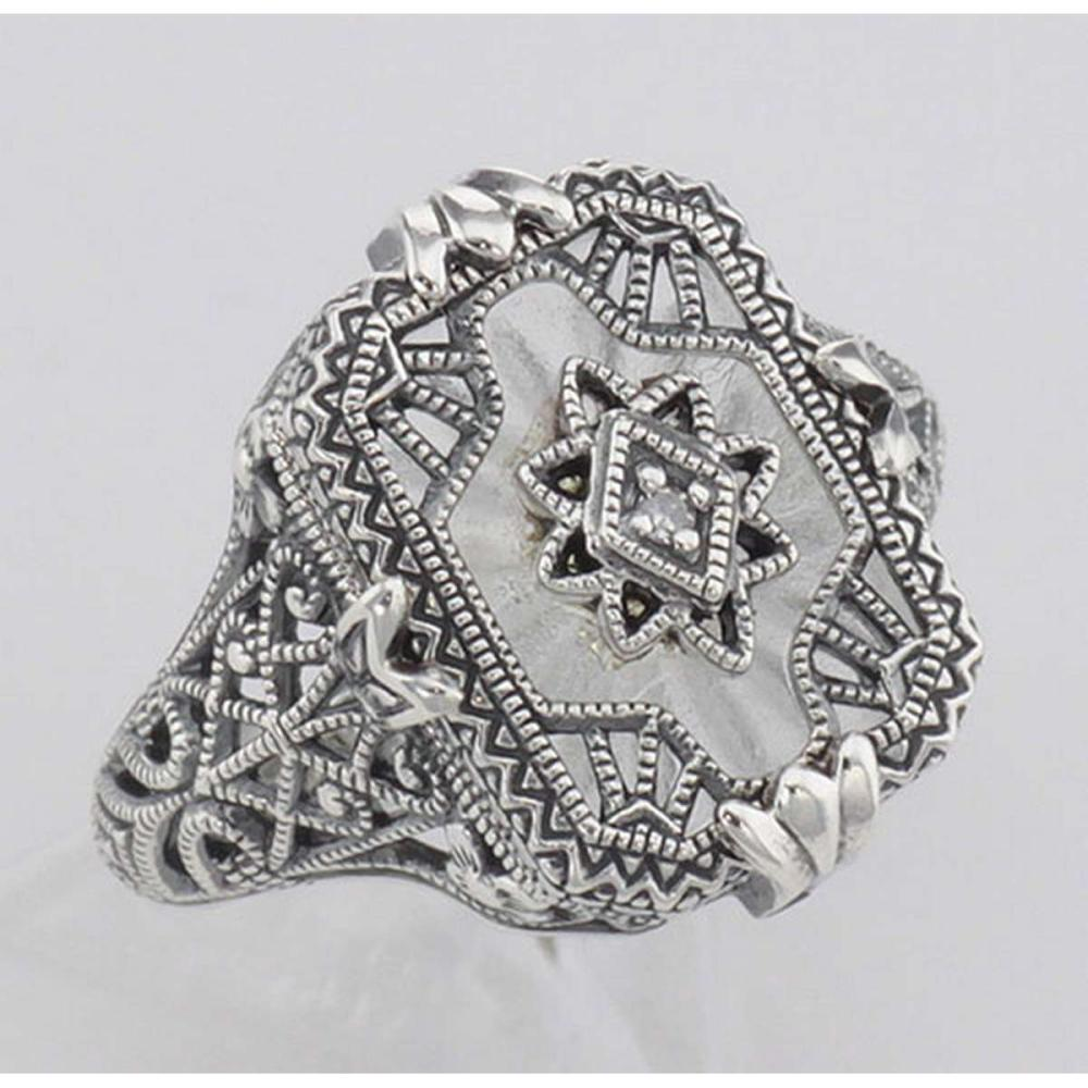 Victorian Style Camphor Glass Crystal Filigree Diamond Ring Sterling Silver #PAPPS98112