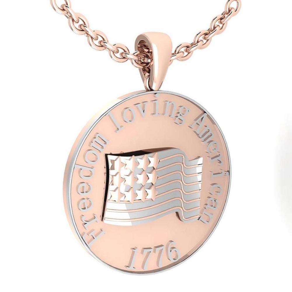Freedom Loving American 1776 14K Rose Gold MADE IN ITALY Pendant #PAPPS20234