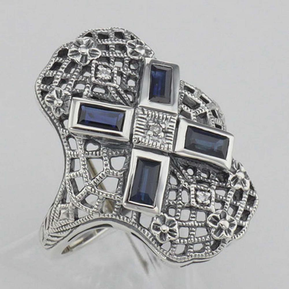 Art Deco Style Filigree Ring w/ Sapphire and 3 Diamonds - Sterling Silver #PAPPS98139
