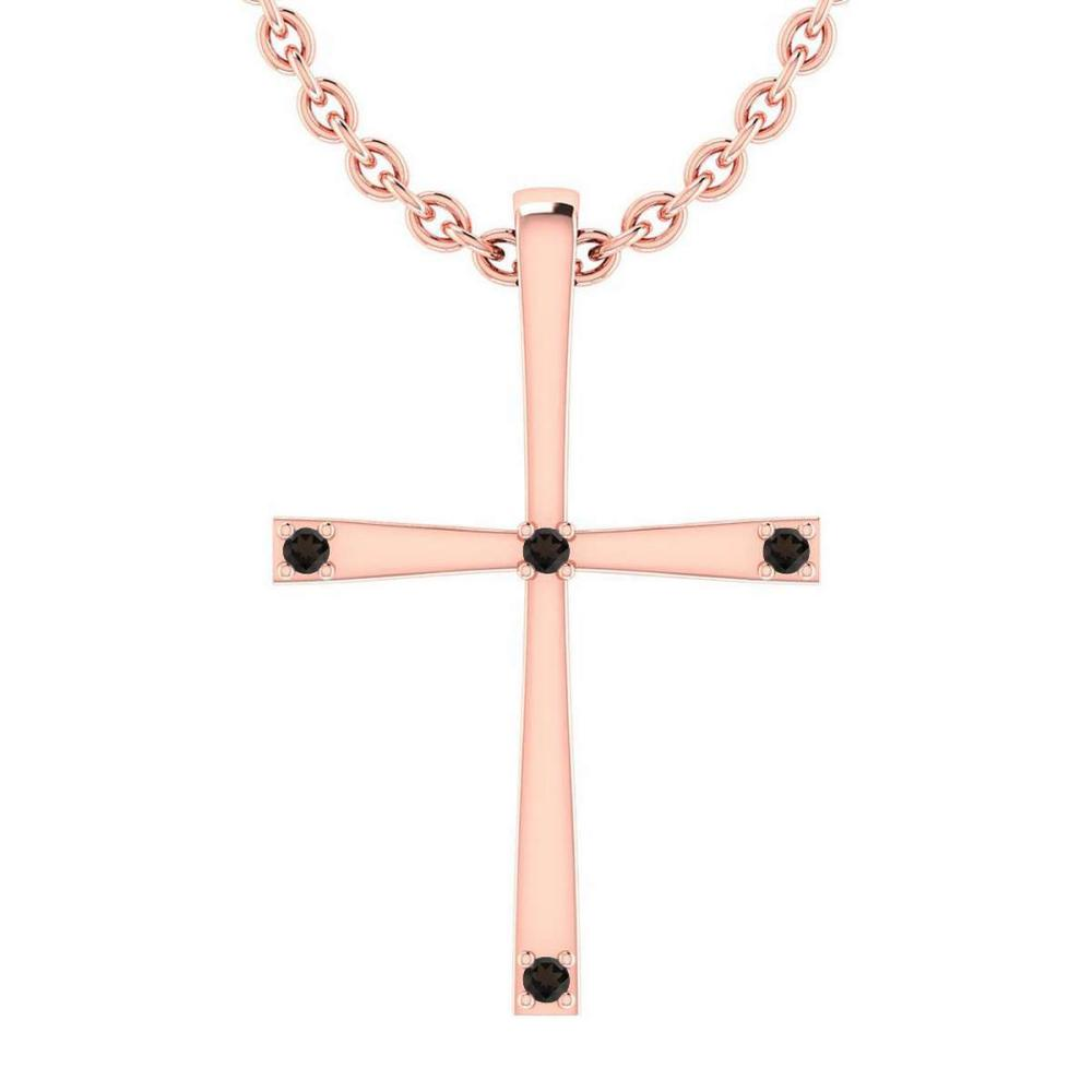 Certified 0.06 Ctw Smoky Quarzt 14k Yellow Gold Pendant #PAPPS15976