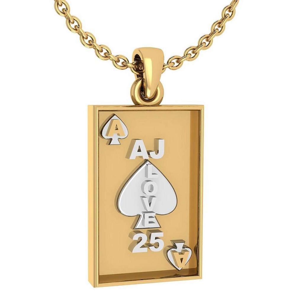 Gift For Card Players charm Pendant 14k Yellow Gold MADE IN ITALY #PAPPS20243