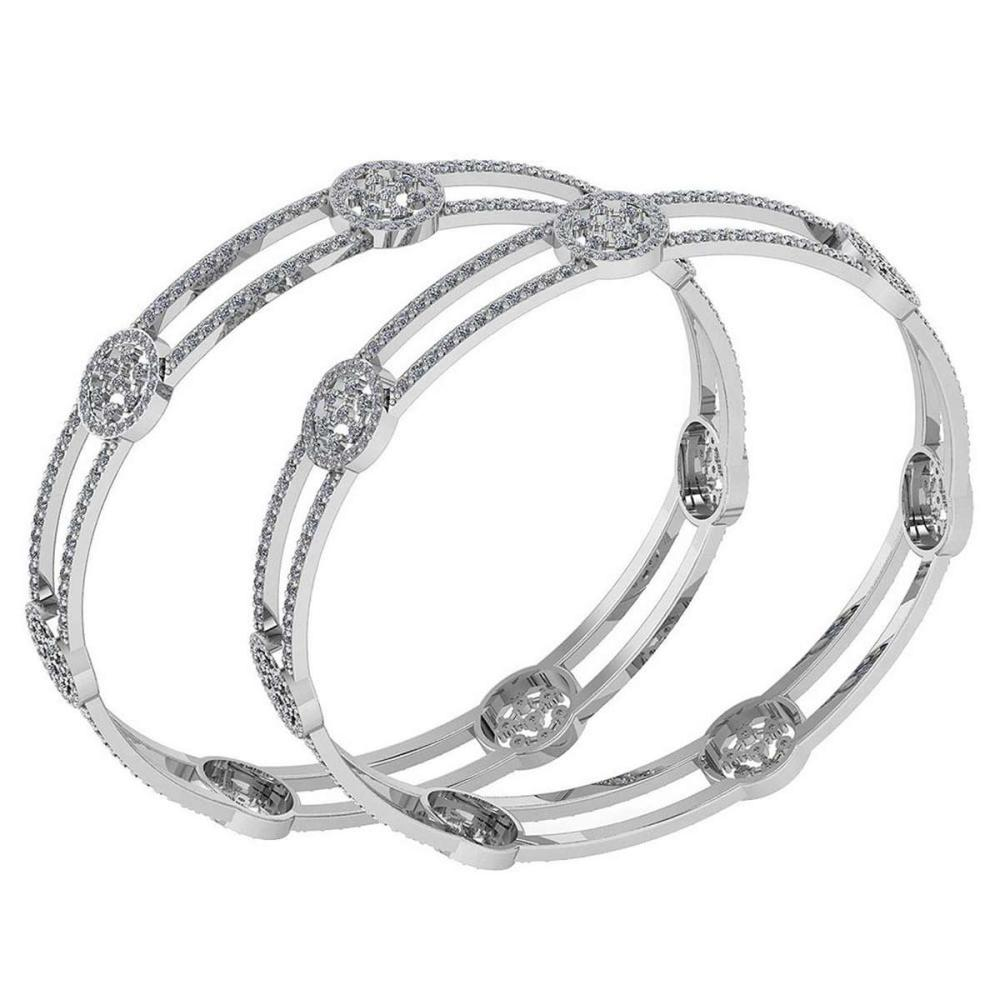 Certified 7.22 Ctw Diamond VS/SI1 Bangles 14K White Gold Made In USA #PAPPS23862