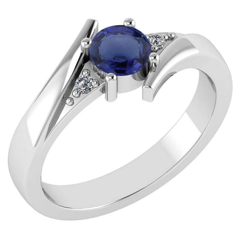 Certified 0.48 Ctw Blue Sapphire And Diamond 14k White Gold Ring #PAPPS16465
