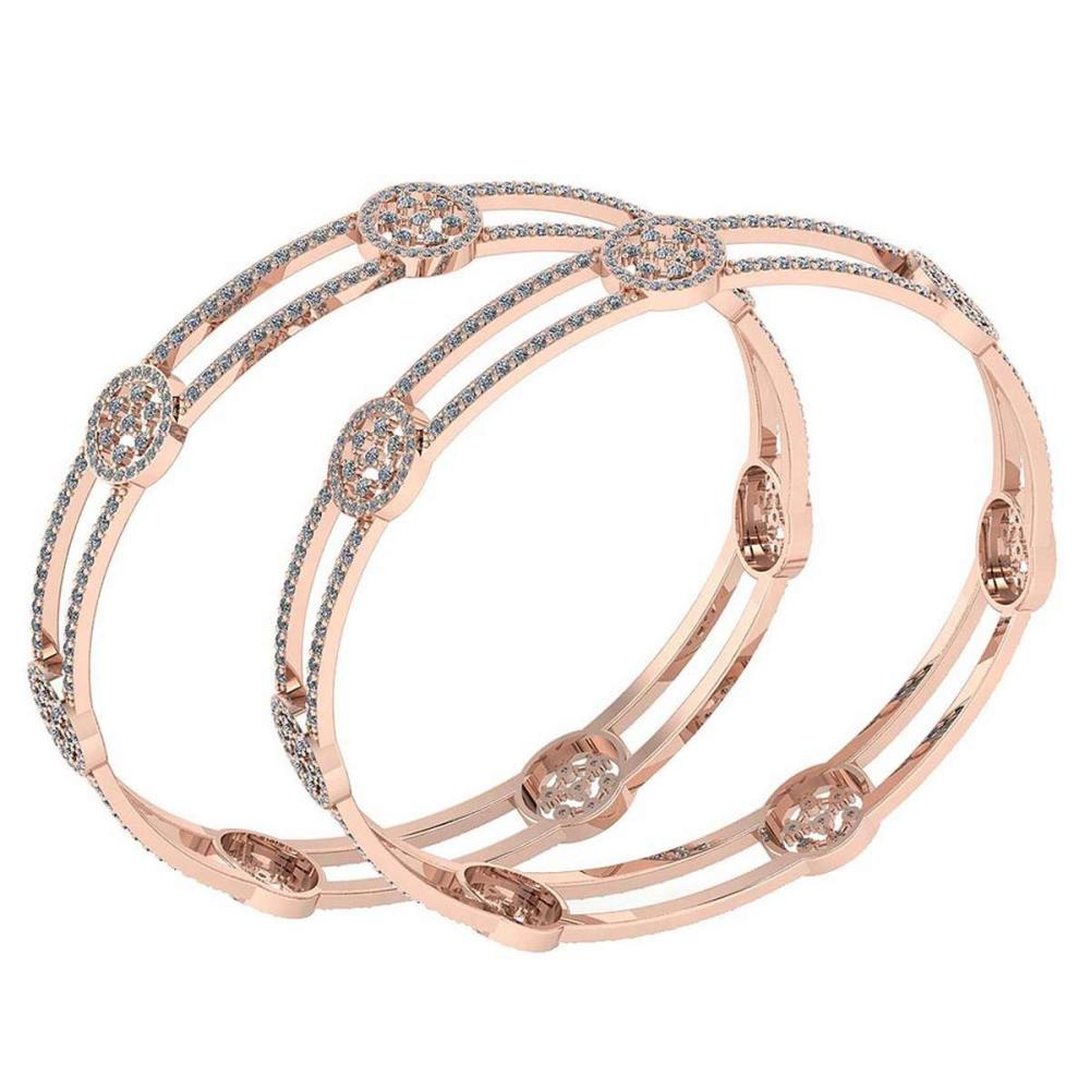 Certified 7.22 Ctw Diamond VS/SI1 Bangles 14K Rose Gold Made In USA #PAPPS23863