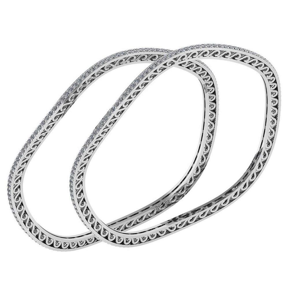 Certified 3.47 Ctw Diamond VS/SI1 Bangles 14K White Gold Made In USA #PAPPS23859