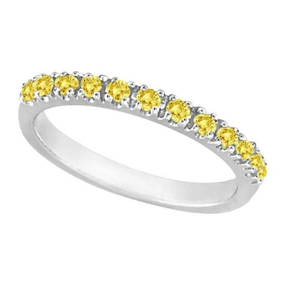 Yellow Canary Diamond Stackable Ring Band 14k White Gold (0.25 ct) #PAPPS20670