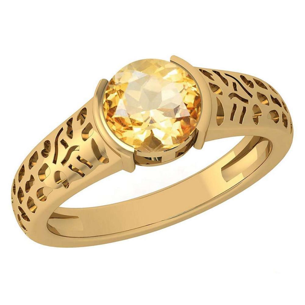 Certified 1.25 Ctw Citrine 14K Yellow Gold Solitaire Ring (VS/SI1) MADE IN USA #PAPPS20799