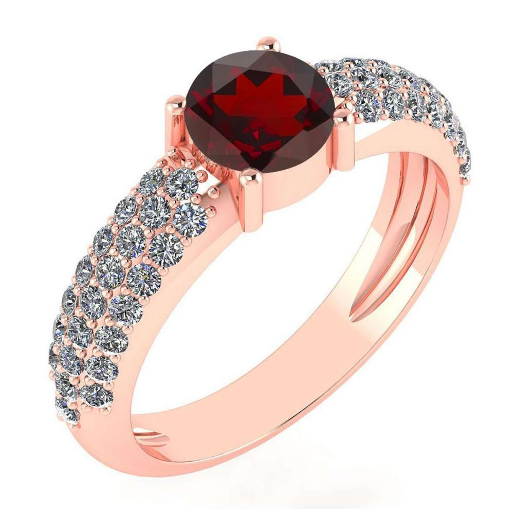 Certified 1.34 Ctw Garnet And Diamond 14k Yellow Gold Halo Ring #PAPPS15906