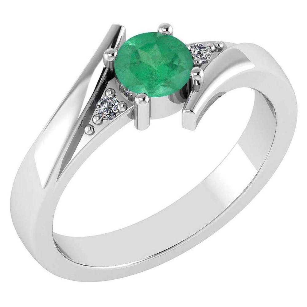 Certified 0.48 Ctw Emerald And Diamond 14k White Gold Ring #PAPPS16466