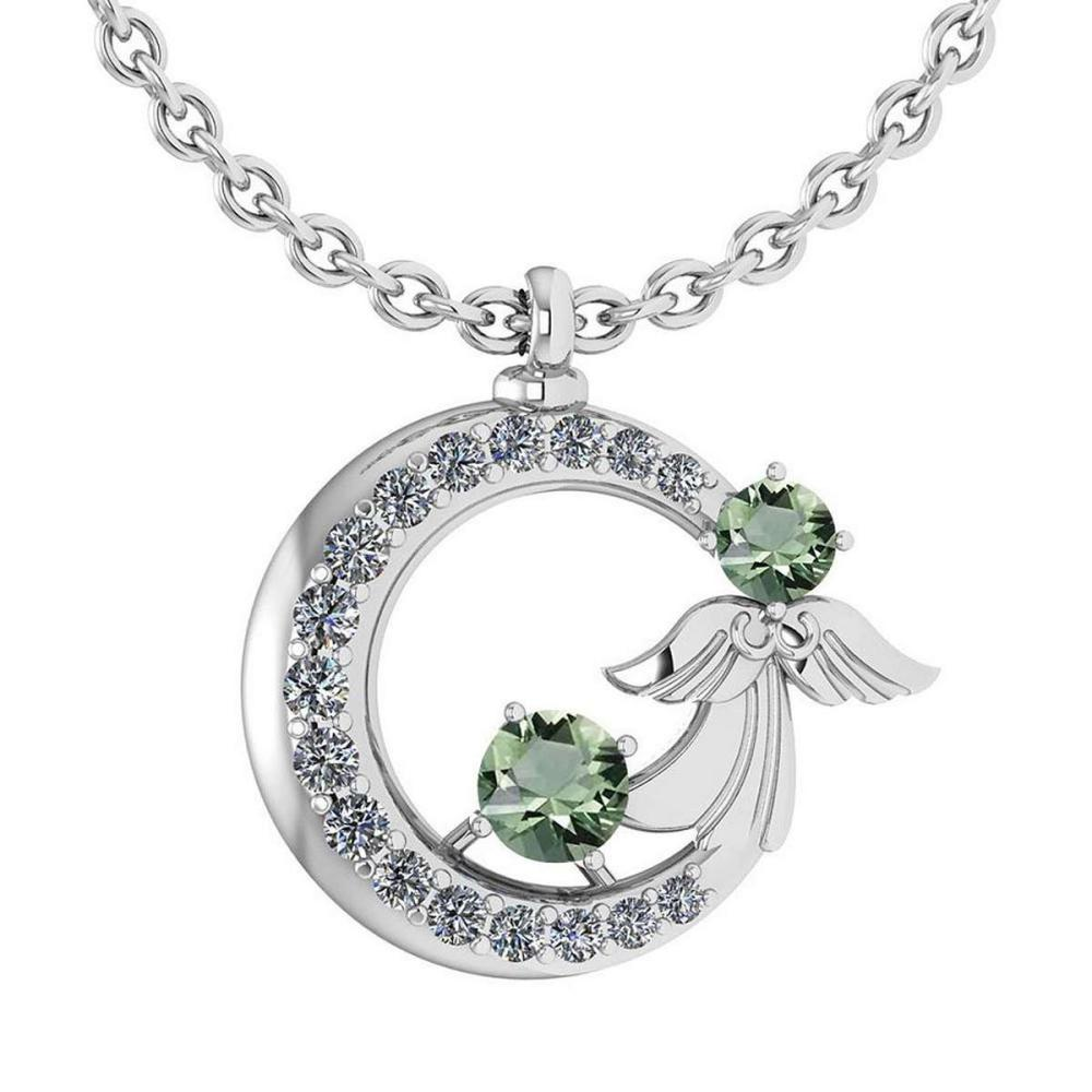 Certified 1.14 Ctw Green Amethyst Diamond Tiny Angel Necklace For womens New Expressions love collection 18K White Gold #PAPPS19798