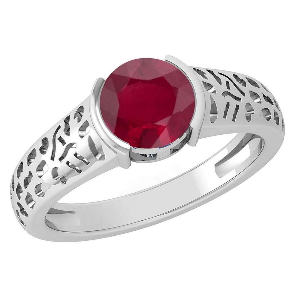 Certified 1.25 Ctw Ruby 18K White Gold Solitaire Ring #PAPPS19787