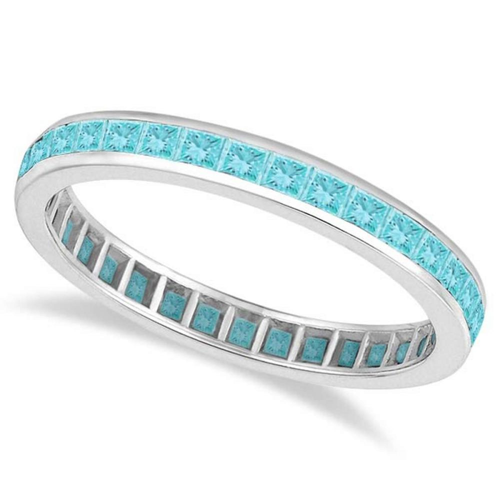 Princess-Cut Aquamarine Eternity Ring Band 14k White Gold (1.36ct) #PAPPS20662