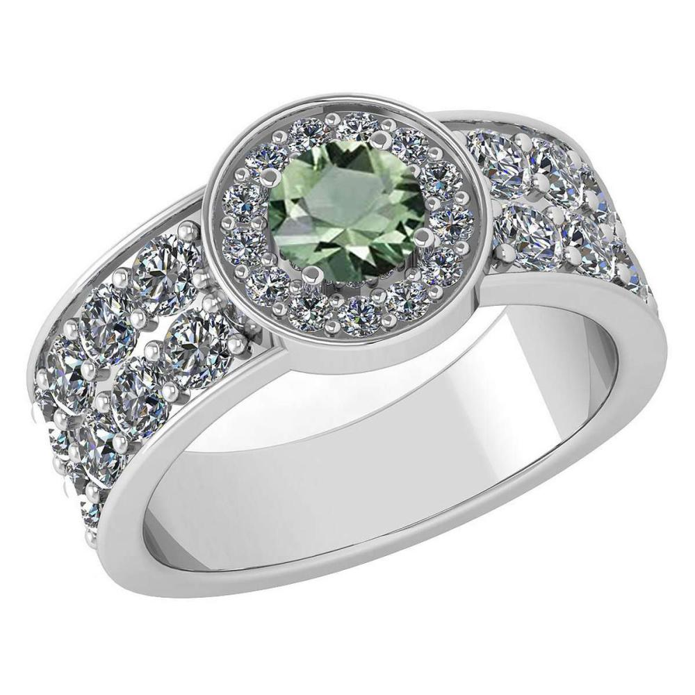 Certified 1.88 Ctw Green Amethyst And Diamond Ladies Fashion Halo Ring 14K White Gold (VS/SI1) MADE IN USA #PAPPS21059