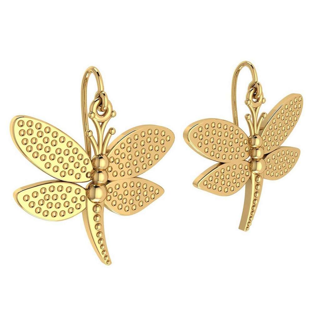 Gold Butterfly Wire Hook Earrings 14K Yellow Gold Made In Italy #PAPPS22196