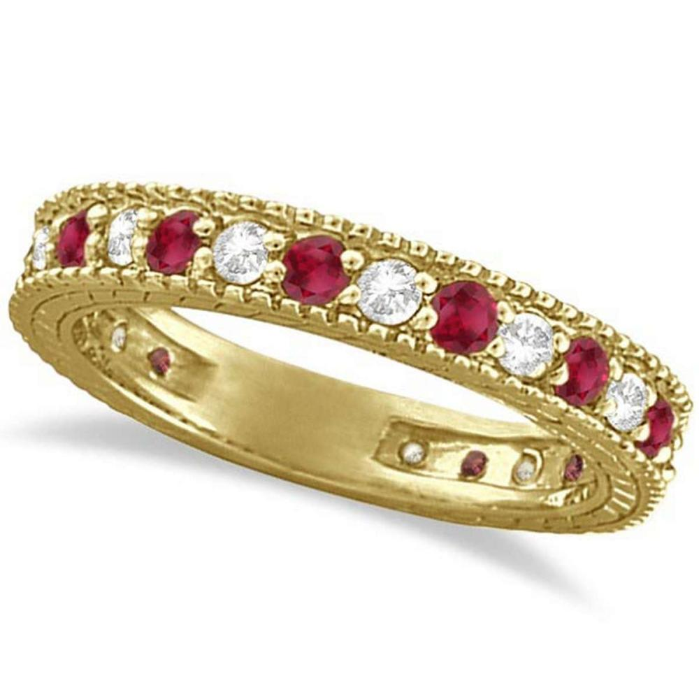 Diamond and Ruby Anniversary Ring Band 14k Yellow Gold (1.08ct) #PAPPS20684