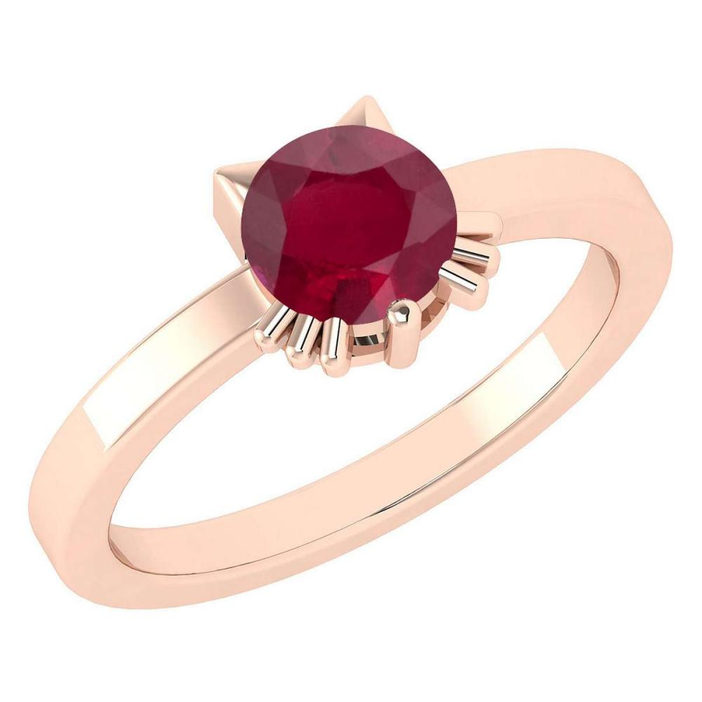 Certified 1.00 Ctw Ruby Cat Style Solitaire Ring 14K Rose Gold MADE IN USA #PAPPS20939