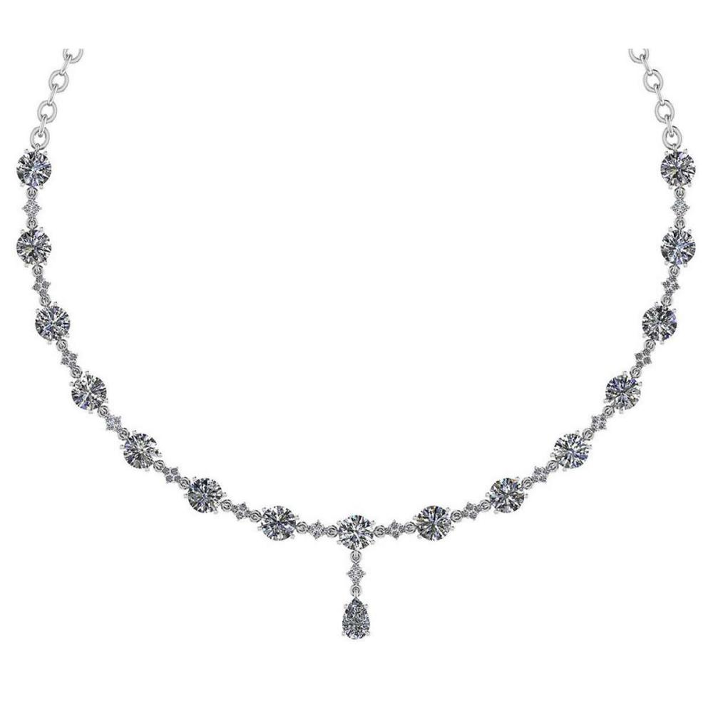 Certified 21.11 Ctw Diamond Necklace For Ladies 18K White Gold (SI2/I1) #PAPPS19582