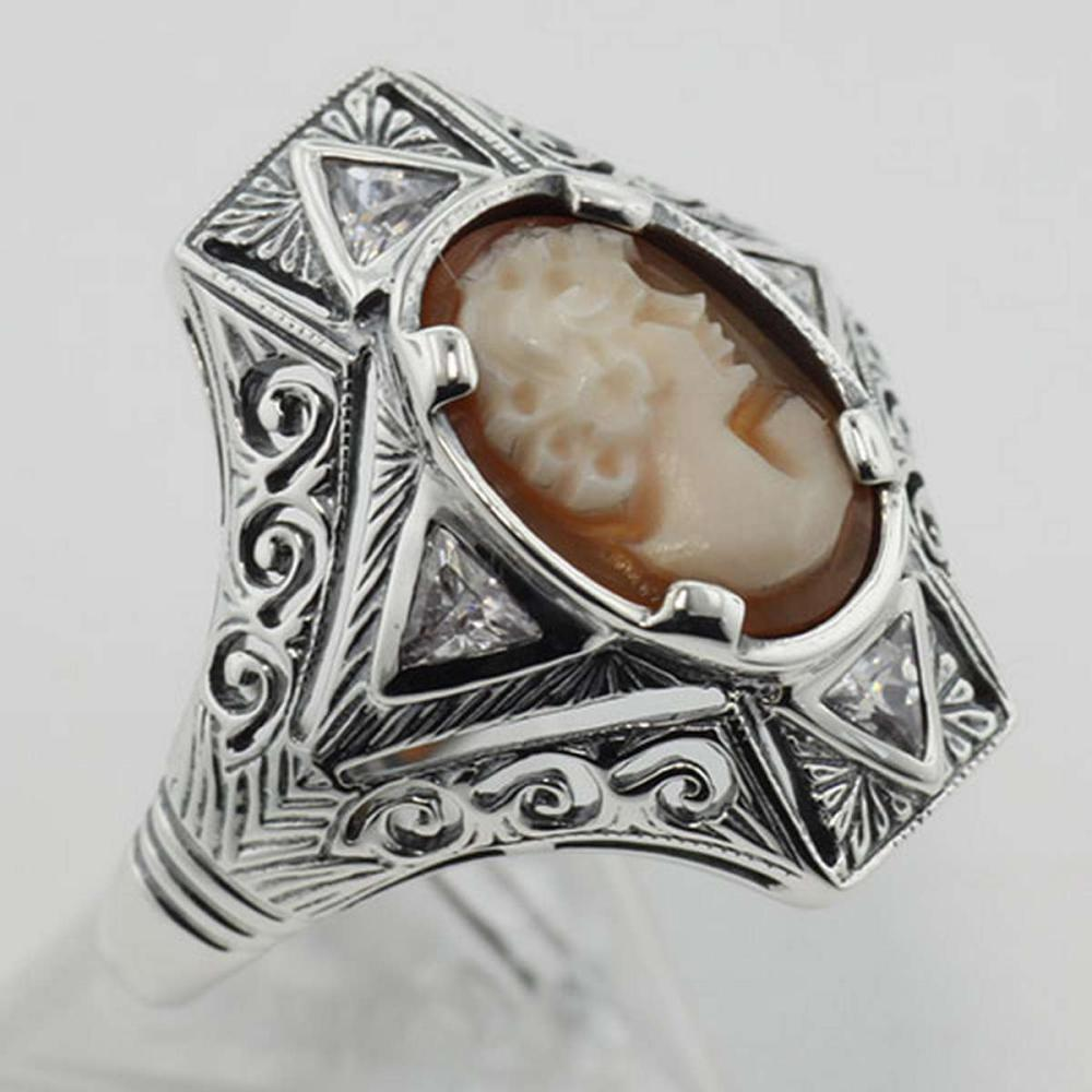 Hand Carved Italian Shell Cameo Filigree Ring with CZs - Sterling Silver #PAPPS98117