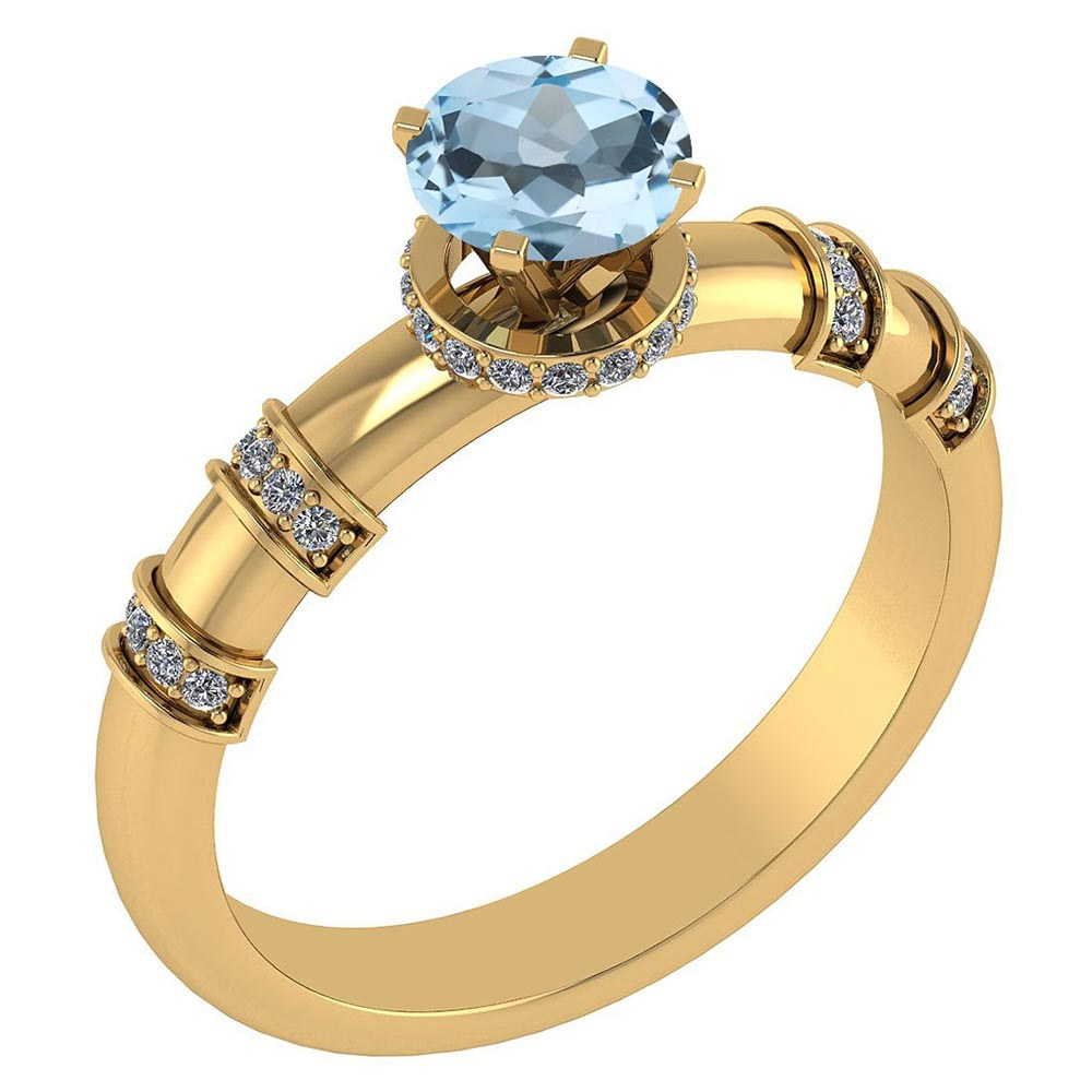 Certified .96 Ctw Genuine Aquamarine And Diamond 14k Yellow Gold Engagement Ring #PAPPS94563
