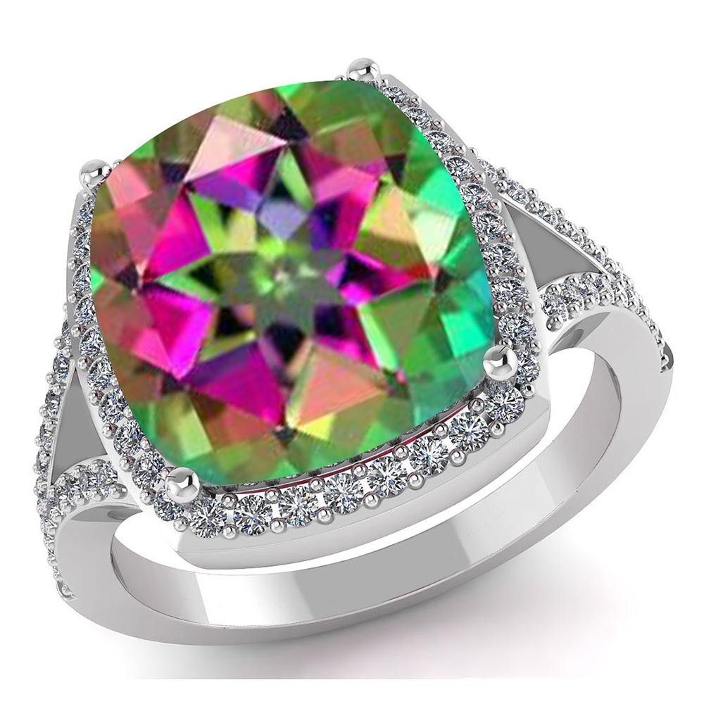 Certified 4.70 CTW Genuine Mystic Topaz And Diamond 14K White Gold Ring #PAPPS91560