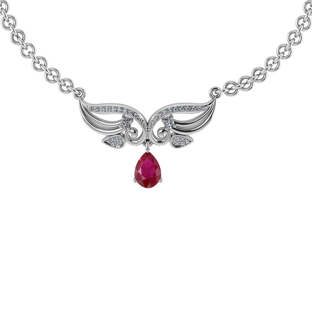 Certified 3.94 Ctw Genuine Ruby And Diamond 14k White Princess Necklace #PAPPS94616