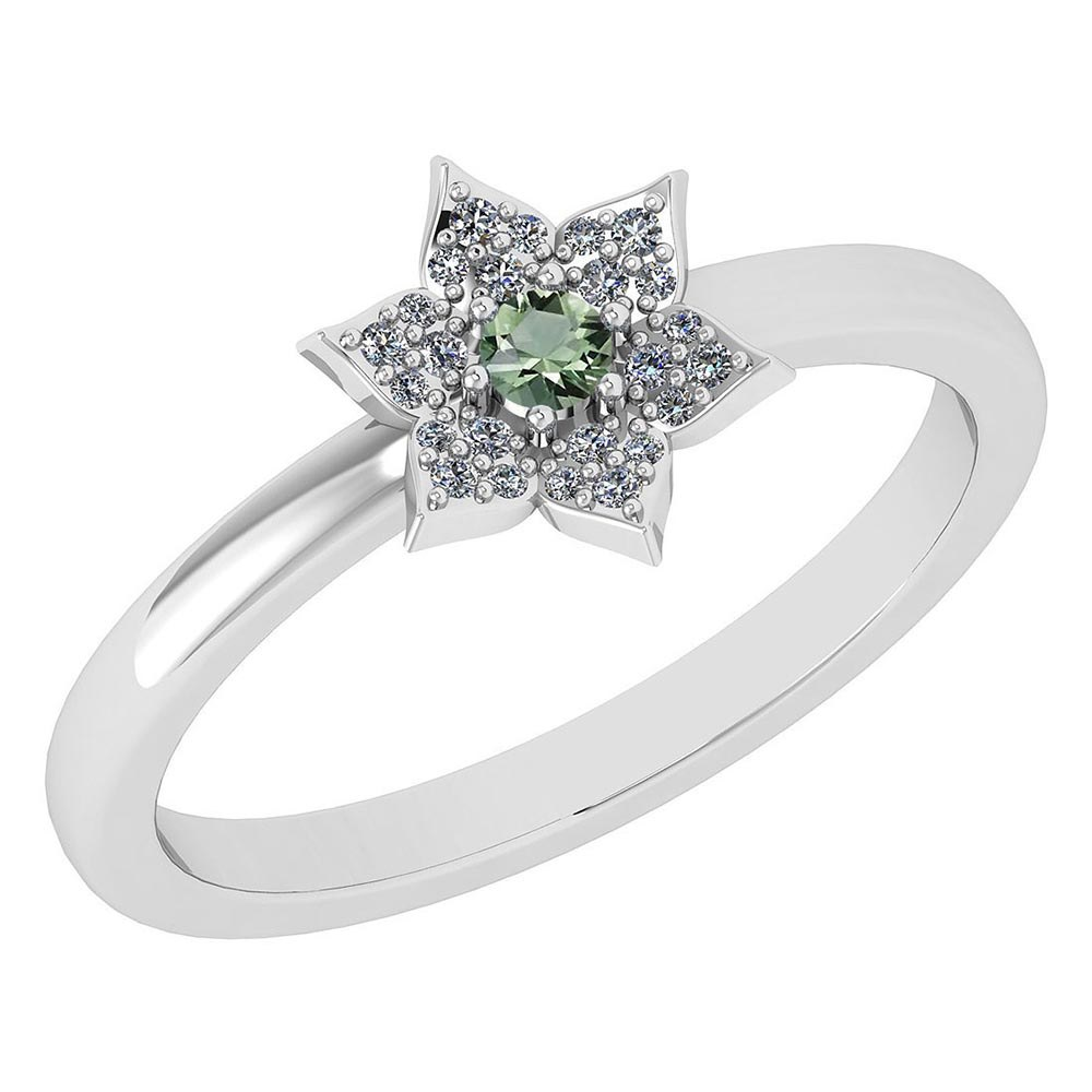 Certified .39 Ctw Genuine Green Amethyst And Diamond 14k White Gold Halo Ring #PAPPS94466