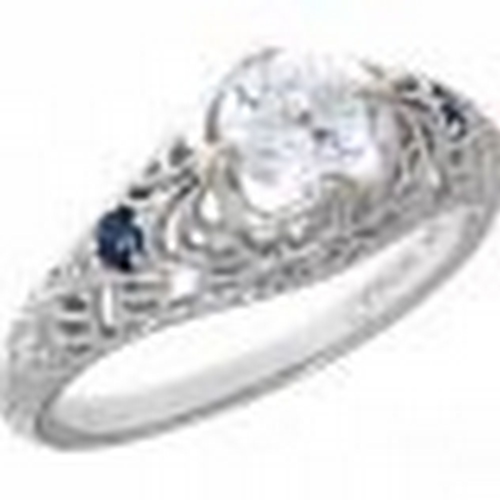 Victorian Style CZ Filigree Ring with Genuine Sapphire Accents 14kt White Gold #PAPPS11379