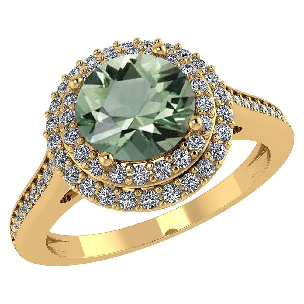 Certified 2.82 CTW Genuine Green Amethyst And Diamond 14K Yellow Gold Ring #PAPPS91543