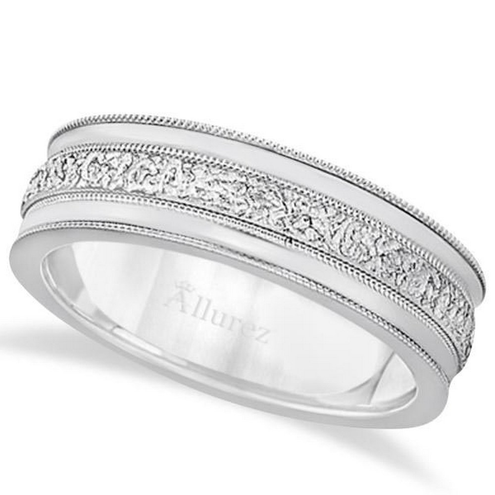 Carved Mens Wedding Ring Diamond Cut Band in Platinum (7 mm) #PAPPS21212