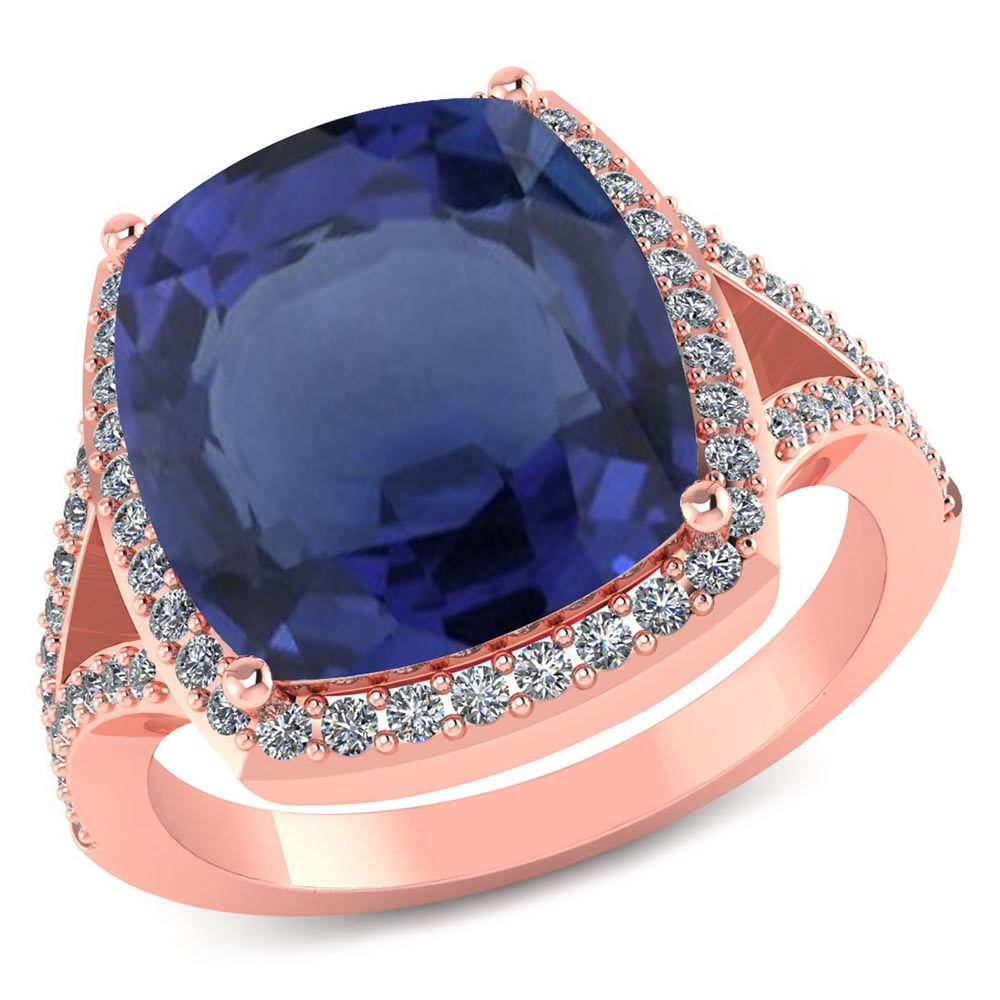 Certified 4.70 CTW Genuine Blue Sapphire And Diamond 14K Rose Gold Ring #PAPPS91544