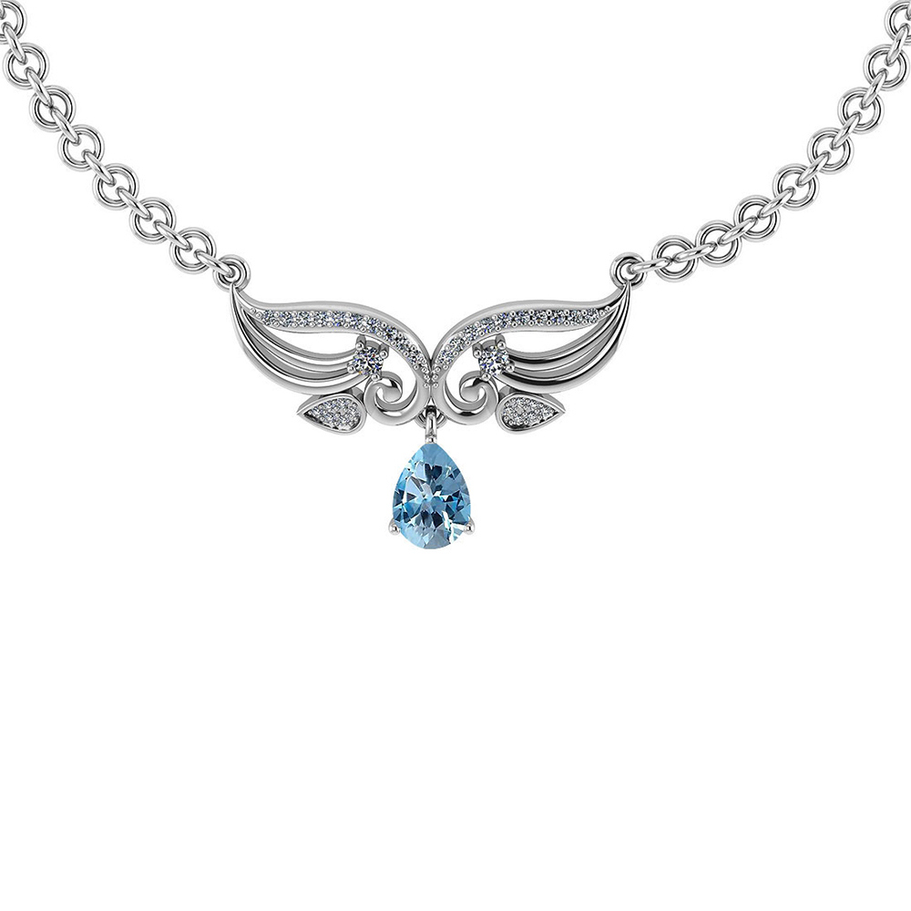 Certified 3.94 CTW Genuine Blue Topaz And Diamond 14k White Necklace #PAPPS93635