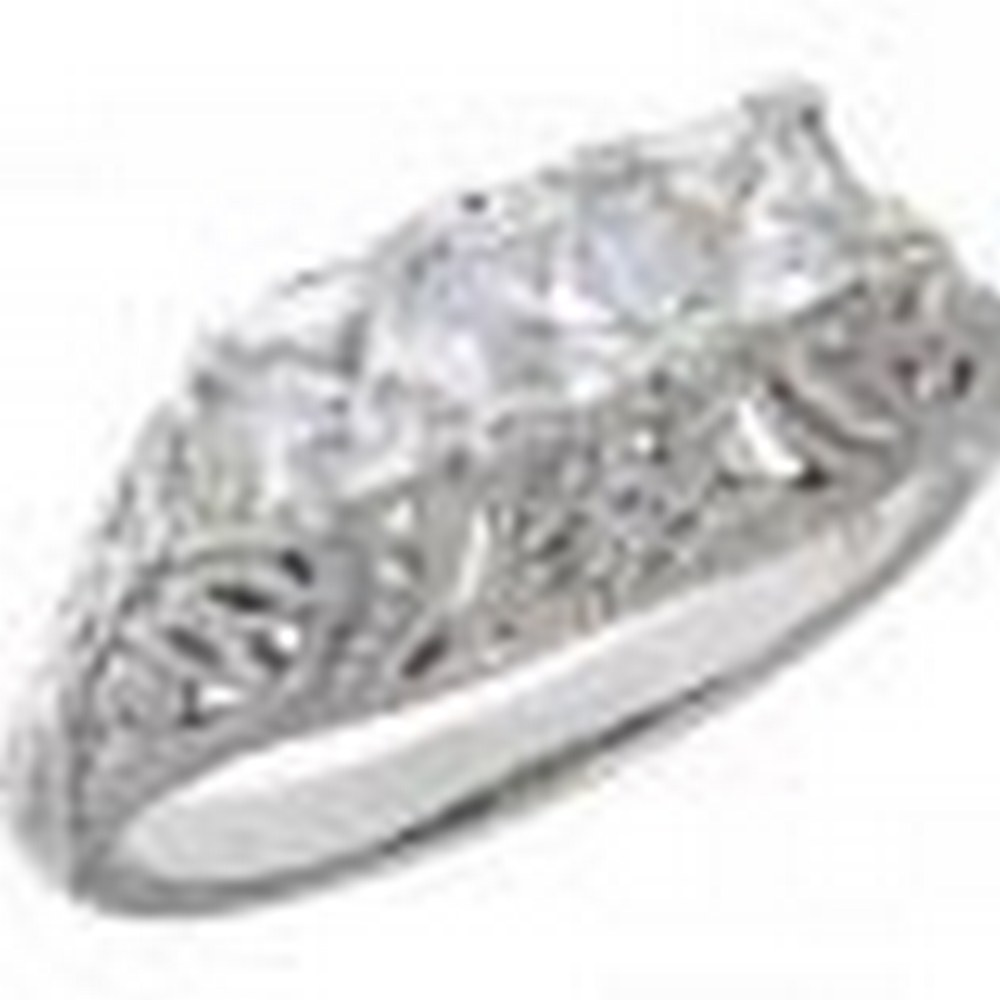 Art Deco Style 14kt White Gold Filigree Ring with 3 Princess Cut CZ #PAPPS11400
