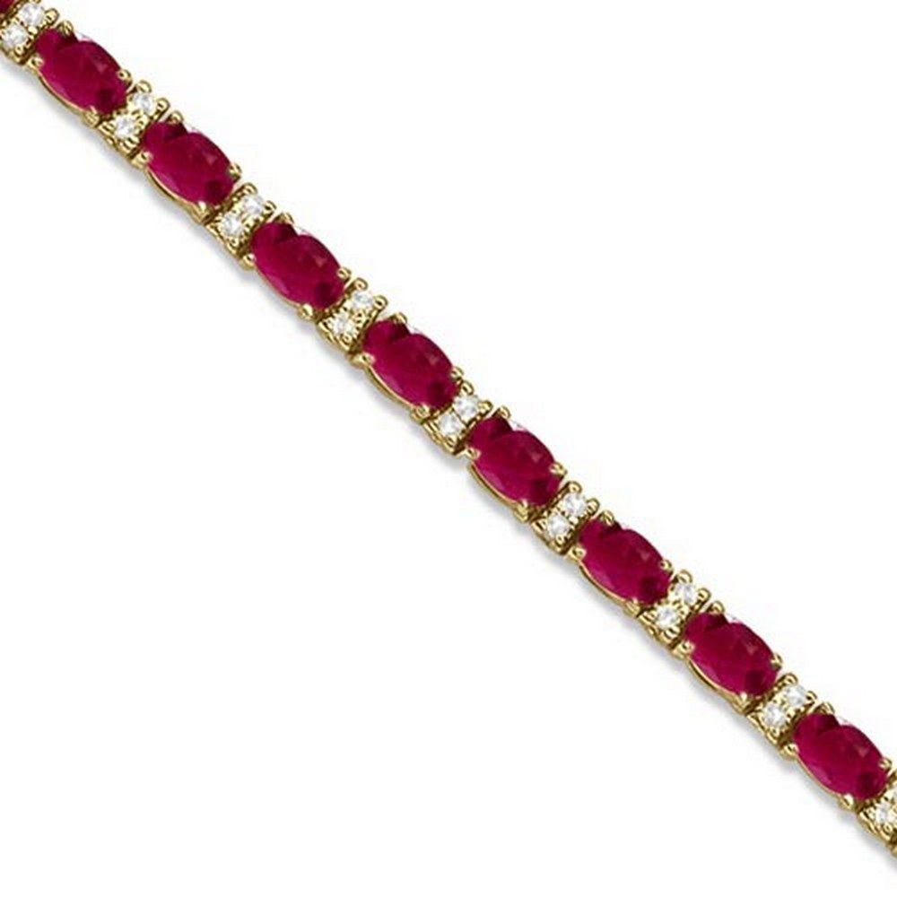 Diamond and Oval Cut Ruby Tennis Bracelet 14k Yellow Gold (9.25ctw) #PAPPS21221