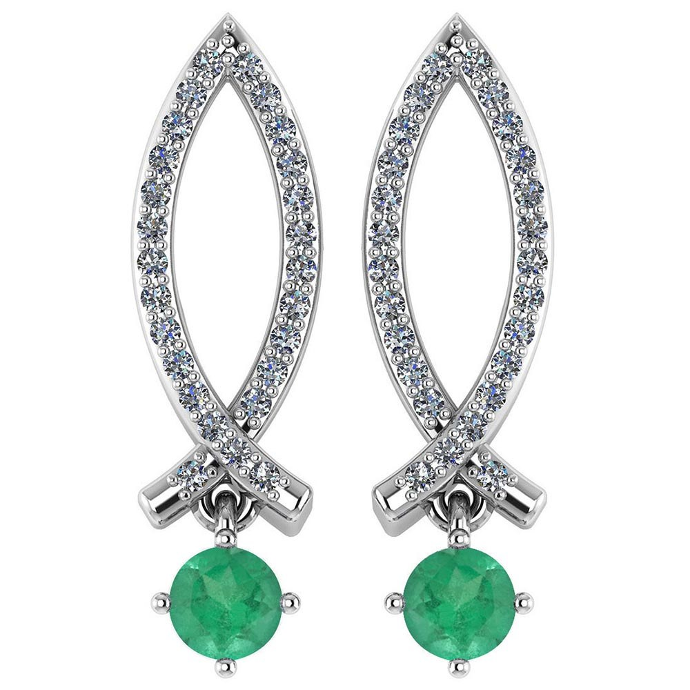 Certified .72 Ctw Genuine Emerald And Diamond 14k White Gold Earrings #PAPPS94529
