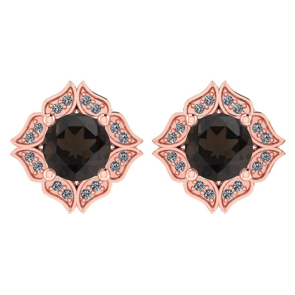 Certified .98 Ctw Genuine Smoky Quartz And Diamond 14k Rose Gold Halo Stud Earrings #PAPPS94513