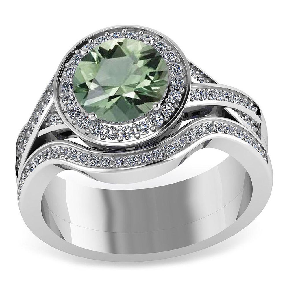Certified 2.25 CTW Genuine Green Amethyst And Diamond 14K White Gold Ring #PAPPS91444