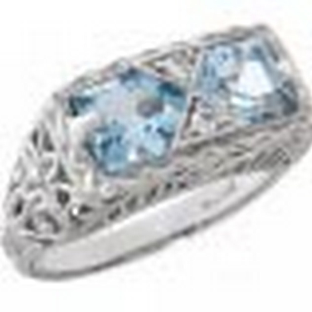 Antique Style 2 Stone Blue Topaz Filigree Ring 14kt White Gold #PAPPS11377