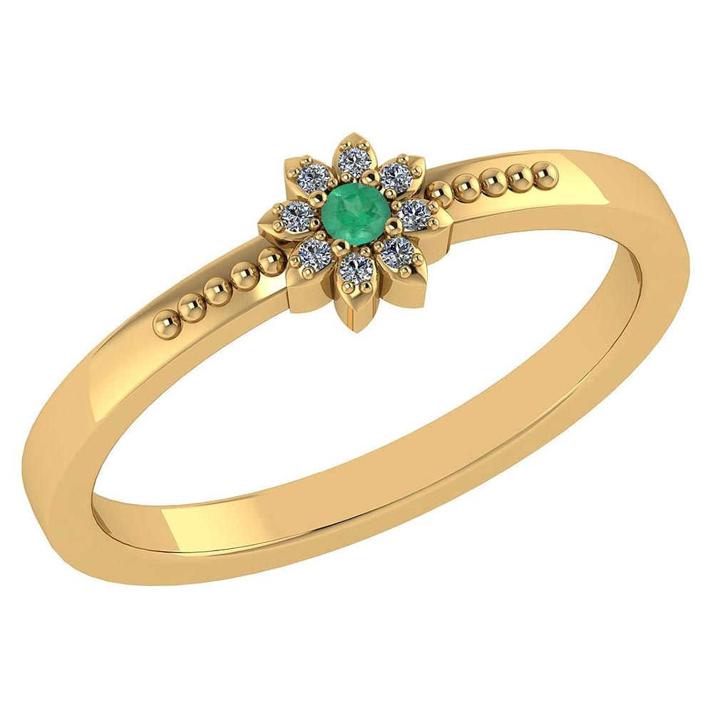 Certified .07 Ctw Genuine Emerald And Diamond 14k Yellow Gold Halo Ring #PAPPS94430