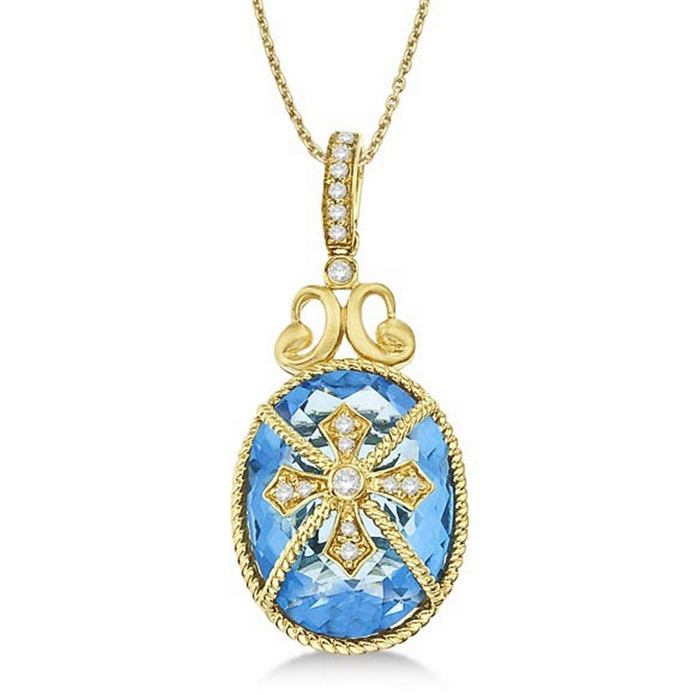 Blue Topaz and Diamond Byzantine Pendant Necklace 14k Yellow Gold (9.36ct) #PAPPS21371