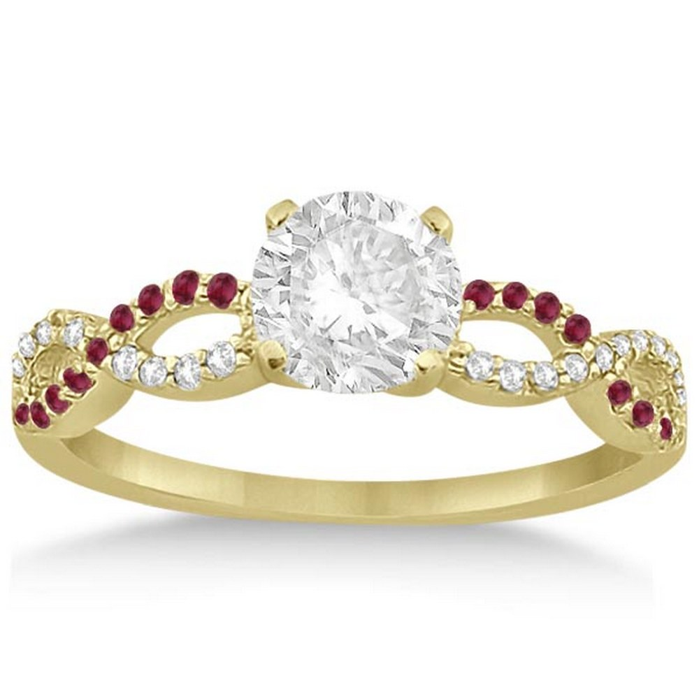 Infinity Diamond and Ruby Gemstone Engagement Ring 14K Yellow Gold 1.21ct #PAPPS21338